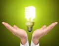 Ideas bulb light on hand a Royalty Free Stock Photography