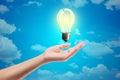 Ideas bulb light on a hand Royalty Free Stock Photo