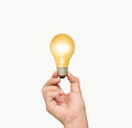 Ideas light bulb in hand the Royalty Free Stock Photos
