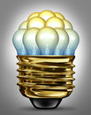 Ideas organization group and creativity partnership concept with glowing light bulbs organized in a united team as a symbol of the Royalty Free Stock Photo