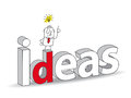 Ideas word in a d style with joe the businessman ideal for a title it illustrates the concept of the creativity and the Stock Image