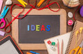 Ideas word formed by color wooden alphabets on small blackboard Royalty Free Stock Photo