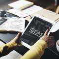Ideas Working Using Tablet Technology Thinking Concept Royalty Free Stock Photo