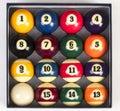 Ideia superior de um conjunto completo de bolas de bilhar para dentro Imagens de Stock