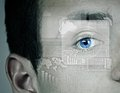 Identification of eye close up male scanned for recognition Royalty Free Stock Images