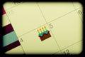 Identifier de calendrier par le gâteau d anniversaire Image libre de droits