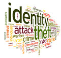 Identiry theft concept word tag cloud isolated white background Stock Photos