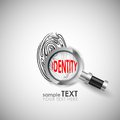 Identity easy to edit vector illustration of magnifying glass on finger prints showing Stock Photography