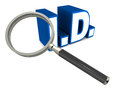 Identity id or abbreviation under magnifying glass concept of id scrutiny and checking genuineness or validating credentials Stock Images