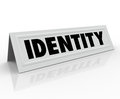 Identity personal character distinctive name tent card word on a to illustrate your unique or personality Stock Image