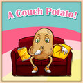 Idiom english saying a couch potato Stock Images