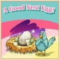 Idiom english saying a good nest egg Royalty Free Stock Image