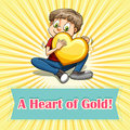 Idiom heart of gold illustration Stock Photography
