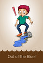 Idiom out of the blue illustration Stock Images