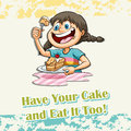 Idiom says have your cake and eat it too Stock Images
