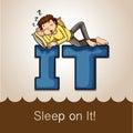 Idiom sleep on it illustration Royalty Free Stock Photos