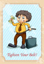 Idiom tighten your belt illustration Stock Photography