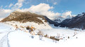 Idyllic Alpine Village in Winter Royalty Free Stock Images