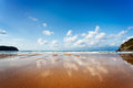 Idyllic beach in bay of biscay northern spain asturias Royalty Free Stock Image