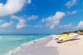 Idyllic beach of Caribbean Sea in Playacar Royalty Free Stock Photo