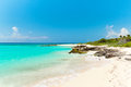 Idyllic beach of Caribbean Sea in Playacar Stock Photos