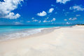 Idyllic beach at caribbean tropical on barbuda island in with white sand turquoise ocean water and blue sky Royalty Free Stock Photography