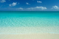 Idyllic caribbean beach wide angle view of perfect white sand turquoise waters and blue sky Stock Photo