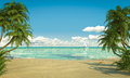 Idyllic caribean beach view copy space frontal of a caribbean with boat Royalty Free Stock Photos