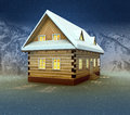 Idyllic cottage and window lighting at night snowfall Royalty Free Stock Images