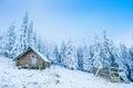 Idyllic cottage in winter ukraine europe Stock Photo