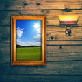 Idyllic landscape exposition wooden wall Royalty Free Stock Photos