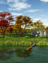 Idyllic landscape this image shows a with a cabin in fall Stock Photo