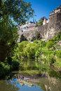 Idyllic luxembourg the river alzette flowing through the old town of on the top Royalty Free Stock Photography