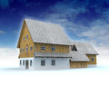 Idyllic mountain cabin with blue sky Stock Photography