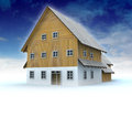 Idyllic mountain cottage with blue sky illustration Royalty Free Stock Photo