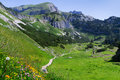 Idyllic mountain scene hiking in the mountains in a sunny day Austrian Alps, Rofan, Karwendel Royalty Free Stock Photo