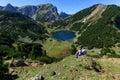 Idyllic mountains scenery hiking in the mountains. Austrian Alps, Tyrol, Lake Zirein Royalty Free Stock Photo