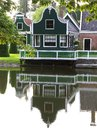 Idyllic old wooden house with reflections,Holland Stock Photo