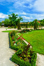 Idyllic scenery of a formal garden castle veitshoechheim bavaria germany rococo with topiary shrubs and flowers near würzburg Royalty Free Stock Image