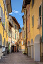 Idyllic small town street view in old porlezza in lake como district italy Royalty Free Stock Image