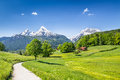 Idyllic summer landscape in the Alps, Bavaria, Germany Royalty Free Stock Photo