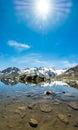 Idyllic summer panorama with clear mountain lake