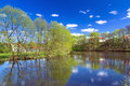Idyllic summer scenery of at the river poland Royalty Free Stock Photos