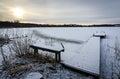 Idyllic sunrise over swedish frozen lake december Stock Image