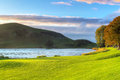 Idyllic sunset scenery at lough gur lake ireland Royalty Free Stock Images