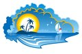Idyllic tropical island with a yacht vector cartoon illustration of an palm trees and or sailboat depicting summer vacation Royalty Free Stock Images