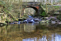 Idyllic tumbling may beck river under beck lane bridge near falling foss north yorkshire moors england Royalty Free Stock Photography