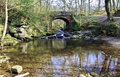 Idyllic tumbling may beck river under beck lane bridge near falling foss north yorkshire moors england Stock Photography
