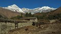 Idyllic village titi view of dhaulagiri and tukuche peak Royalty Free Stock Photos