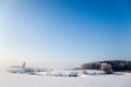 Idyllic winter landscape in thuringia with a frozen pond Stock Images